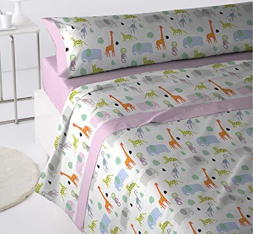 Juego Sábanas Infantil Colección Bambú 3 Piezas 50 Alg 50 Pol (Rosa, Cama 90x190/200)