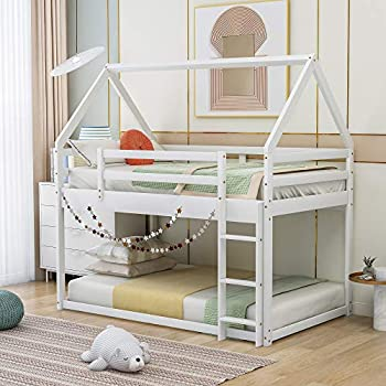House Shaped Bunk Bed Twin Over Twin Size Wood Bunk Bed Frame Low Bunk Beds for Kids and Toddlers Twin Size,White