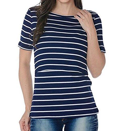 WEIMEITE Vêtements de maternité D'Allaitement Tops D'Allaitement Strip Tees T-Shirt D'Allaitement Top Dark Blue L