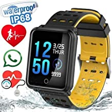 EZone Fitness Tracker Smart Watch, N88 Activity Tracker with Heart Rate Monitor,Color Screen Fitness Watch with Sleep Monitor Blood Pressure Monitor Pedometer Watch, IP68 Waterproof (Black)