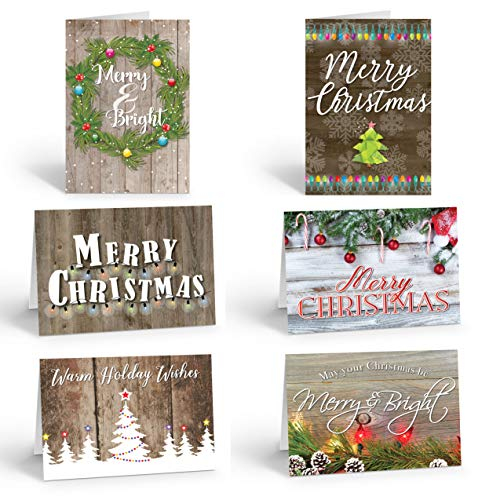 Assorted Rustic Christmas Cards - 18 Boxed Christmas Cards and Envelopes
