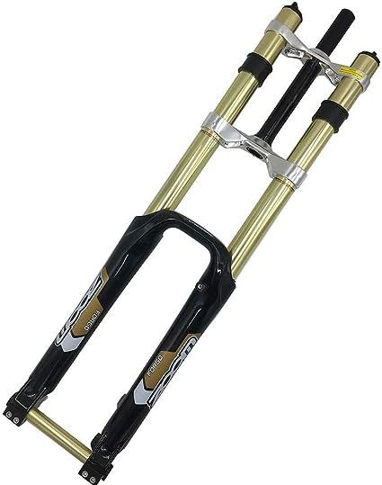 MZP Bicicleta Montaña Horquilla Suspensión Am, 26 Pulgadas Hombro Doble DH Horquilla Delantera Bicicleta Frenos Disco MTB Horquilla Delantera Cuesta Abajo con Amortiguación: Amazon.es: Deportes y aire libre