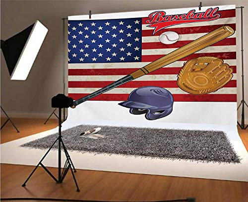Sports 10x6.5 FT Vinyl Photo Backdrops,USA American Flag and Baseball Equipment Championship Tournament Inspired Artwork Background for Selfie Birthday Party Pictures Photo Booth Shoot
