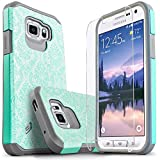 Galaxy S6 Active Case, [Not Fit Galaxy S6] Starshop [Shock Absorption] Dual Layers Impact Advanced Protective Cover with [Premium HD Screen Protector Included](Light Blue Lace)