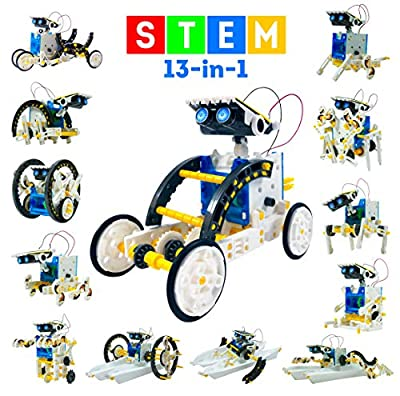 13-in-1 Stem Toys Educational Solar Robot Kit - 195PCS Building Toys Science Kits for Kids - DIY Gifts for Boys Girls Teens Aged 8-12 and Up - Engineering Robotics Kit with Motorized Engine & Gears by TinyParadise