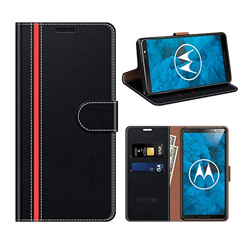 COODIO Motorola Moto G6 Hülle Leder, Moto G6 Kapphülle Tasche Leder Flip Cover Schutzhülle Rugged für Motorola Moto G6 Handyhülle, Schwarz/Rot