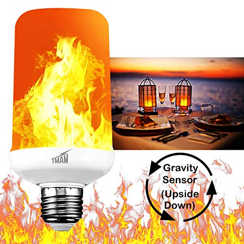 LED Flame Effect Light Bulb - LED Flickering Flame Light Bulbs, Simulated Decorative Light Atmosphere Lighting Vintage Flaming Light Bulb, Gravity Sensor-Upside Down, E26, 3 Modes,(1 Pack)