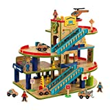 KidKraft Wash N Go Wooden Car Garage Playset with 19-Piece Accessory Set and Moving Elevator, Gift for Ages 3+