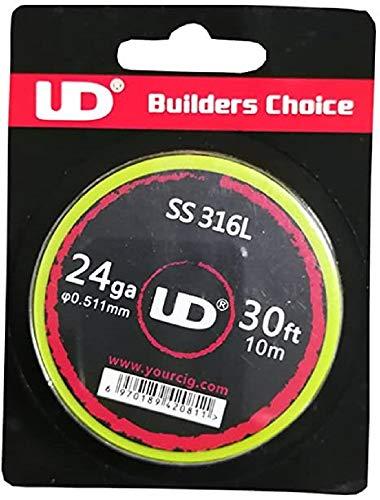 UD Youde, 316L - Filo di acciaio inossidabile, 24 AWG, 0,5 mm, bobina da 10 metri