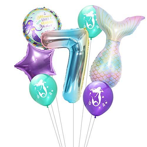 Haosell Globos de 7º cumpleaños, decoración de sirena, gran sirena, globo de 7 años, decoración de cumpleaños infantil, color lila con número 7, globos decorativos de colores lila, mares, conchas