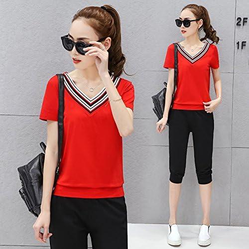 QNQA sports wear au printemps et en été, des vêtements à hommeches longues en t - shirt, meuble, v collier, vêtements, sept points de pantalons, de deux ensembles,XL,gules,