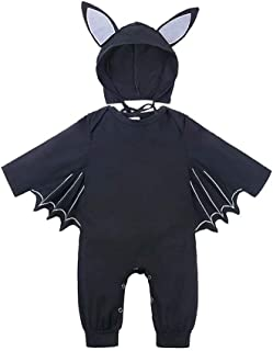Xfounder Halloween Baby Clothes Newborn Baby Bat Long Sleeve Jumpsuit One-Piece Rompers with Hat