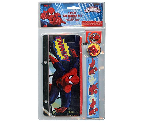 4pc Spiderman Stationery Set - Pencil Pouch, Ruler, Eraser, Pencil Sharpener