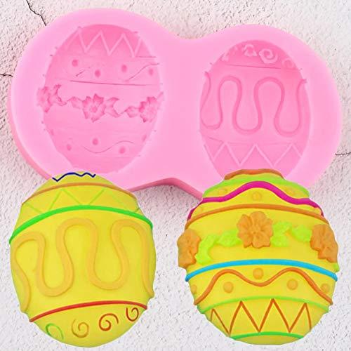 CSCZL Molde de Silicona para Huevos de Pascua, Herramientas de decoración de Pasteles con Fondant para Hornear DIY, moldes para Pasta deGoma y Chocolate, moldes para Velas de Arcilla de Resina