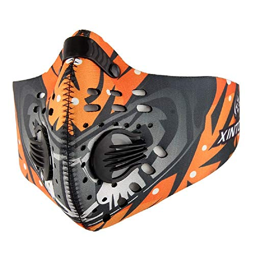 Price comparison product image Dukars Sports Mask,  Dustproof Mask Activated Carbon Filtration Exhaust Gas Anti Pollen Allergy PM2.5 Workout Running Motorcycle Cycling Mask (Orange - N95)