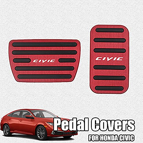Great-luck aluminium alloy Gas Accelerator Pedal Covers,Anti-Slip No Drilling Brake Foot Pedal Pads accessories Kit 2 pieces/set(red) for Honda 10th Civic(2016 2017 2018 2019 2020) 11th Civic 2022