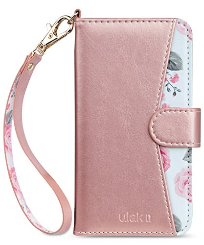 ULAK iPhone 8 Plus Hülle, iPhone 7 Plus PU Lederhülle Tasche Flip Leder Schutzhülle Standfunktion Handyhülle Klapphülle mit Kartenfächer Hülle Cover für iPhone 8 Plus/iPhone 7 Plus - Roségold