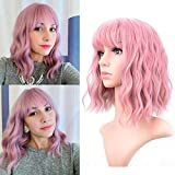 VCKOVCKO Pastel Wavy Wig With Air Bangs Women's Short Bob Purple Pink Wig Curly Wavy Shoulder Length Pastel Bob Synthetic Cosplay Wig for Girl Colorful Costume Wigs(12', Purple Pink)