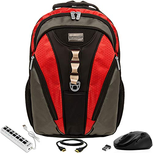 VanGoddy Rivo Rugged Anti-Theft Laptop Backpack w/ 3PC Accessory Bundle for Samsung NoteBook Series / ChromeBook / TabPro S / Galaxy Book / 11' to 15inch