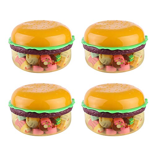 148 Pcs Mini Hamburger Box Pencil Eraser Novelty Food Style Stationery Products for Kids Students School Office Supplies (Hamburger)