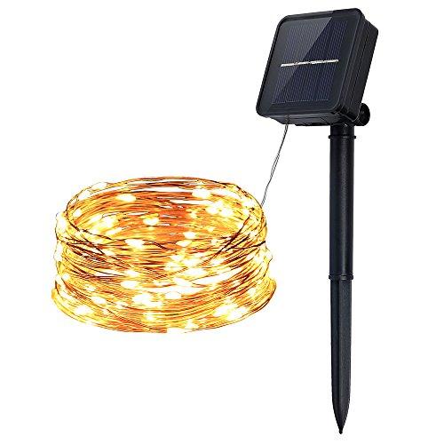 InnooLight Solar Lichterkette aussen 100er, Wasserdichte LED Solar Kupferdraht Lichterkette Warmweiß 10 Meter mit 8 Modi als Solar Lichterkette draussen