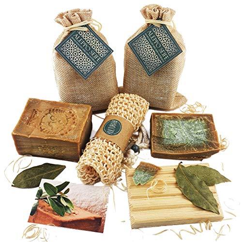 2 x 200g Premium Aleppo Seife Set 20% Lorbeeröl 80% Olivenöl von Kultura World® + Sisal Seifensäckchen + Holz Seifenhalter - 100% pflanzlich - Handarbeit im Traditionsbetrieb