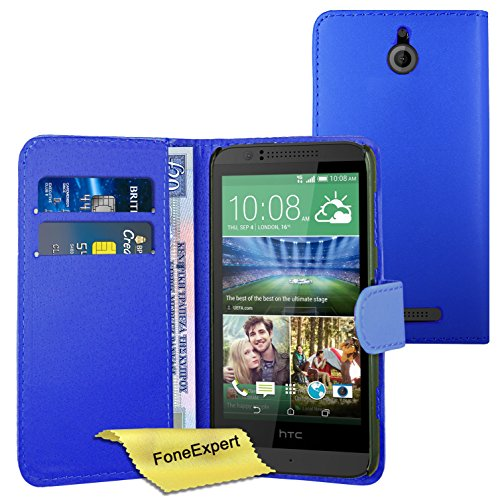 FoneExpert® Wallet Hülle Flip Cover Hüllen Etui Ledertasche Lederhülle Premium Schutzhülle für HTC Desire 510 + Bildschirmschutzfolie (Wallet Blau)
