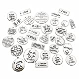 iloveDIYbeads 30pcs Inspiration Words Charms Craft Supplies Mixed Pendants Beads Charms Pendants for Crafting, Jewelry Findings Making Accessory for DIY Necklace Bracelet (M044)