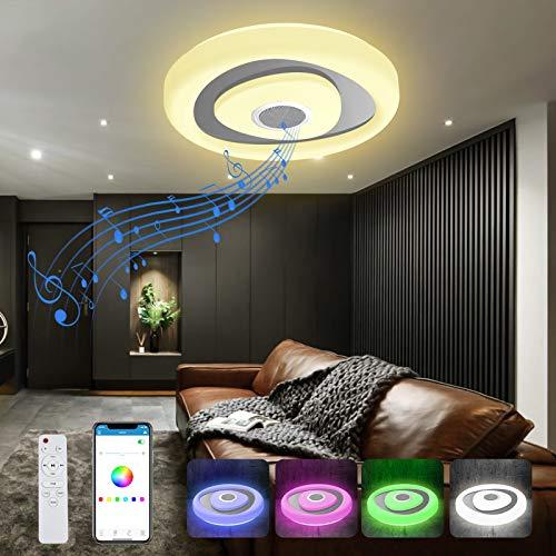Plafoniera LED Soffitto Dimmerabile, T-SUN Lampada Soffitto con Altoparlante Bluetooth,RGB Lampada Musicale con Cambio Colore,Lampadario Smart con Telecomando e Controllo APP,36W Ø40cm