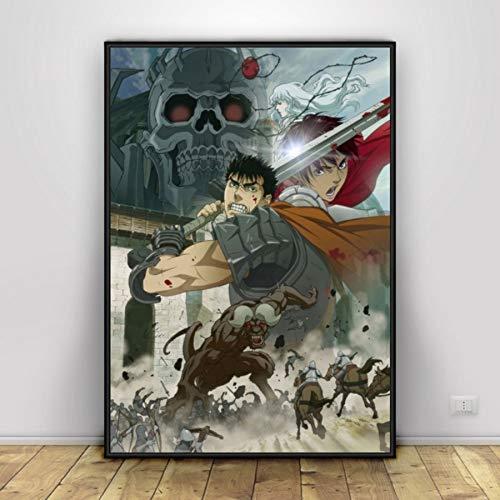 MXIBUN Berserk Anime Poster Art Cuadros de Pared de Pintura de Lienzo para Sala de Estar Decoración para el hogar de impresión HD sin Marco 50 * 70cm 2