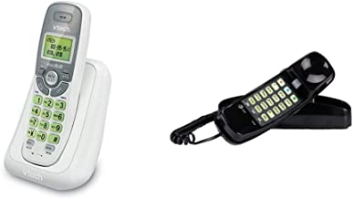 $27 » VTech CS6114 DECT 6.0 Cordless Phone with Caller ID/Call Waiting, White/Grey with 1 Handset & AT&T 210 Basic Trimline Cord...