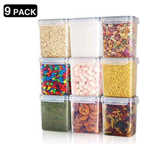 Frischhaltedosen, luftdicht, 9 Stück, 1,5 qt/1,6 l, Kunststoff, PBA frei, für Küche, Speisekammer, Vorratsdosen für Zucker, Mehl und Backzubehör, spülmaschinenfest