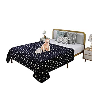 TTLUCKY Crastal Velvet Dog Blanket for Bed, Waterproof Pet Blanket for Couch Protection Washable, Reusable Incontinence Bed Underpads Reversible Dog Blanket Pad for Pet Baby Cat Navy Blue,50 X 64 Inch