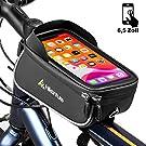 HIKENTURE Rahmentasche Fahrrad Wasserdicht mit/ohne Fingerabdrucksensor, Fahrradtasche Rahmen mit Handyhalterung, Oberrohrtasche als Handyhalter, Ideales MTB Fahrrad Zubehör für Handy bis zu 6,5 Zoll
