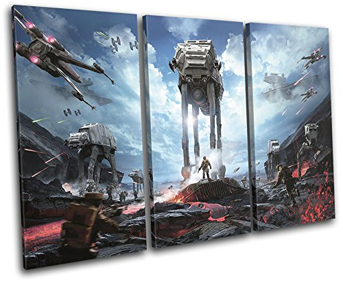 Bold Bloc Design - Star Wars Battlefront at-at Gaming 120x80cm Treble Canvas Art Print Box Framed Picture Wall Hanging - Hand Made in The UK - Framed and Ready to Hang