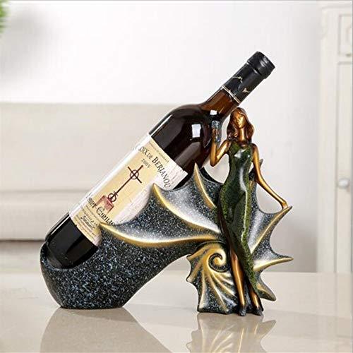 DOMINIC Domicile Bar Cocina Rack Vino Titular de Vino Estante Resina Escultura práctica Soporte de Vino Decoración del hogar Midland Crafts Regalo Estantería de Vino (Color : Green)