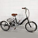 BTdahong Triciclo para Adultos, Bicicleta de 3 Ruedas de 20', Triciclo con Cesta