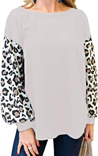 Kancystore Women's Casual Tops Leopard Waffle Knit Shirts Long Sleeve Loose Pullover Sweaters
