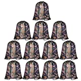 KUUQA 12 Pack Camouflage Drawstring Backpack Bulk String Backpack Cinch Tote Kids Sport Bags Storage Bags for Gym Traveling (Camouflage)