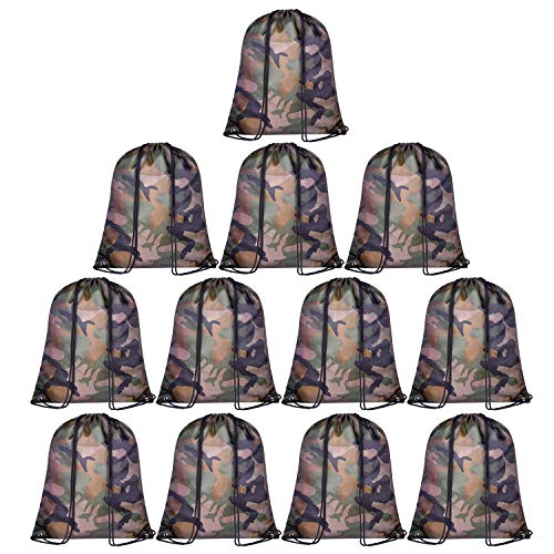 KUUQA 12 Pack Camouflage Drawstring Backpack Bulk String Backpack Cinch Tote Kids Sport Bags Storage Bags for School Gym Traveling (Camouflage)