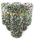 Hand Blown Mexican Tequila Glasses – Set of 6 Confetti Design Tequila Shot Glasses (2 oz each)