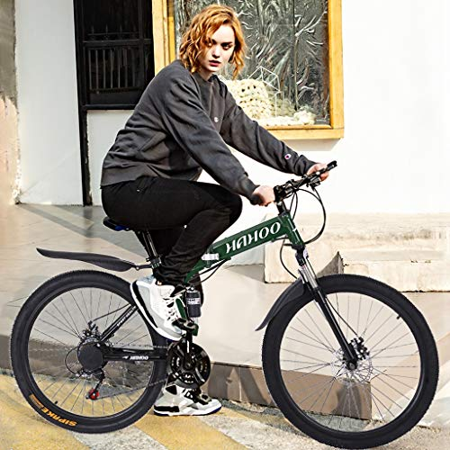 26 inch Folding Mountain Bike, Adult Men/Women 21 Speed Bicycle Teens Boys/Girls Full Suspension MTB Bikes Sport Wheels Dual Disc Brake Aluminum Frame Urban Track Bike Road Bikes (Green)