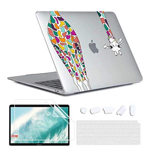 MBC Custodia per MacBook Air 13 pollici 2020 2019 2018 (A2179 / A1932 / A2337 M1) con Retina Touch ID custodia rigida e cover per tastiera e pellicola protettiva compatibile con Mac Air 13, Giraffa