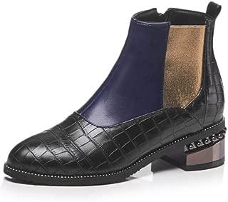 Women's Short Boots Low Heel Elastic Slip On Waterproof Outdoor Ankle Bootie Chelsea Shoes