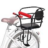 Asiento De Bicicleta Para Niños Bicicleta Asiento Trasero Para Bebés Y Niños Con Cojín Respaldo Pedales Reposabrazos Barandilla Valla Portabicicletas Para Niños Accesorios Para Bicicletas,Negro,A