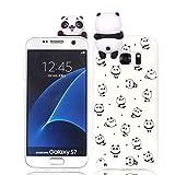 HopMore Compatible para Funda Samsung Galaxy S7 Silicona Motivo 3D Divertidas Unicornio Panda Bonita TPU Gel Ultrafina Slim Case Antigolpes Cover Protección Carcasa Dibujo Gracioso - Pequeño Panda