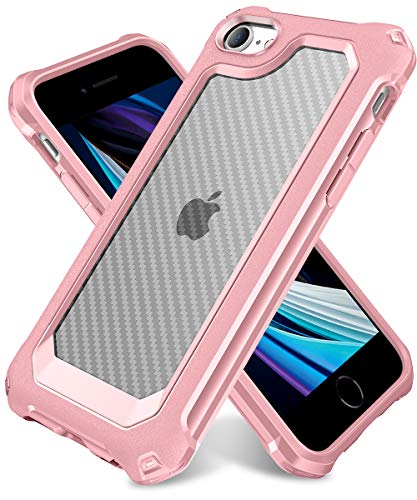 """iPhone SE 2020 Case, iPhone 8 Case, iPhone 7 Case, SUPBEC Carbon Fiber Shockproof Protective Cover with Screen Protector [x2] [Military Grade Drop Protection] [Anti Scratch], 4.7"""", Rose Gold"""