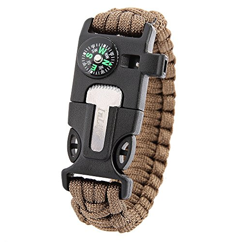 Inlife 5 in 1 esterno di sopravvivenza del braccialetto di Paracord silice bussola del fischio d'avviamento di fuoco raschietto pesca camuffamento (5)