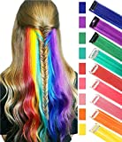 SARARHY 9 PCS Rainbow Hair Extensions Colored Party 21inch Highlights Straight Hair Extension Clip In For Girls and Dolls Kids Costume Wig Pieces