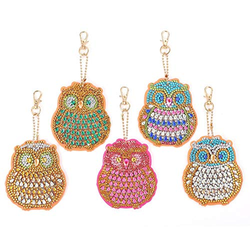 5pcs DIY Diamond Painting Keychains Full Drill Special Shaped Diamond Painting Bird Key Ring Pendant